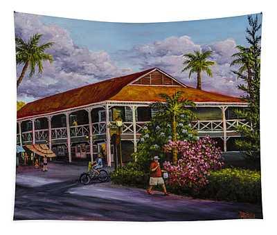 Tapestry featuring the painting Pioneer Inn Lahaina by Darice Machel McGuire