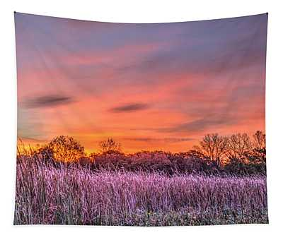 Illinois Prairie Moments Before Sunrise Tapestry