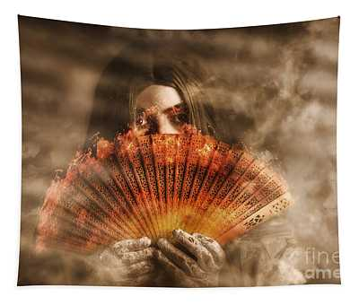 Psychic Clairvoyant Holding Mystery And Magic Fan Tapestry