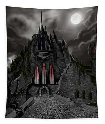 Red Death Tower Tapestry