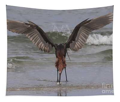 Reddish Egret Fishing Tapestry