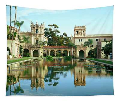 Reflecting Pool In Front Of A Building Tapestry