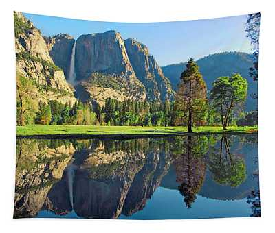 Reflections Of Yosemite Falls Tapestry