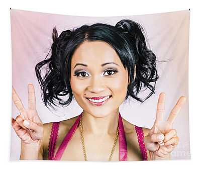 Retro Asian Girl Gesturing Peace Love And Hope Tapestry