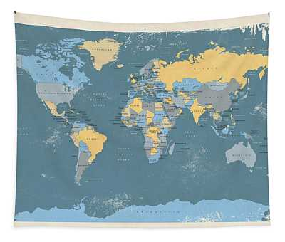 Retro Political Map Of The World Tapestry