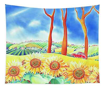 Route Of Sun Flowers Tapestry