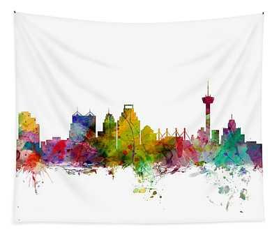 San Antonio Texas Skyline Tapestry
