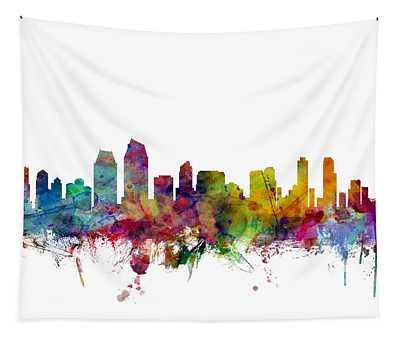 San Diego California Skyline Tapestry