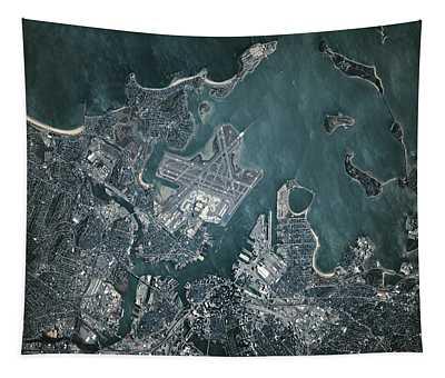 Satellite View Of Boston Tapestry