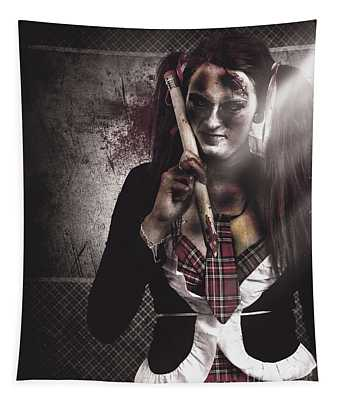 Scary Zombie School Student Holding Monster Pencil Tapestry