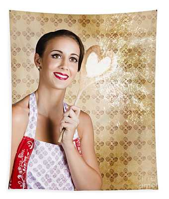 Smiling Female Cook Baking Cake With Sweet Love Tapestry