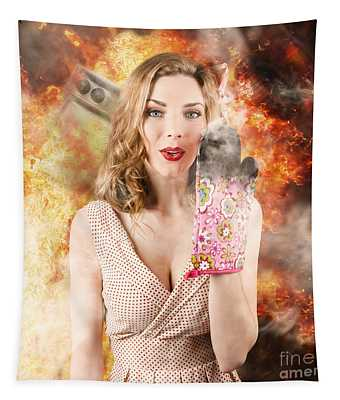 Surprised Woman Cook In Kitchen Fire. Bad Cooking Tapestry