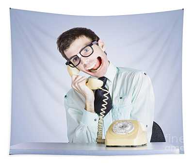 Talkative Nerd Man With Big Mouth Tapestry