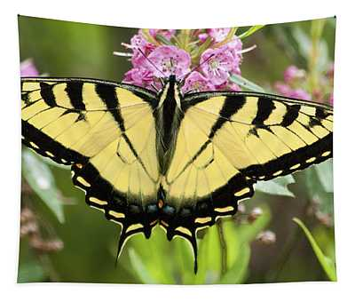 Tiger Swallowtail Butterfly On Milkweed Flowers Tapestry