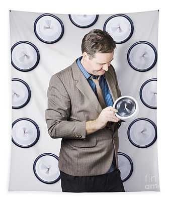 Time Management Business Man Looking At Clock Tapestry