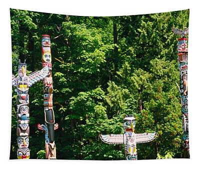 Totem Poles In A A Park, Stanley Park Tapestry