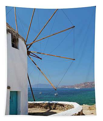 Traditional Windmill  Chora, Mykonos Tapestry