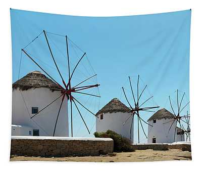 Traditional Windmills  Chora, Mykonos Tapestry