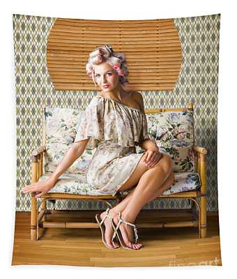 Vintage Fashion Photo Of A Sexy Blond Woman  Tapestry