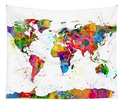 Watercolor Political Map Of The World Tapestry