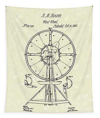 Wind Wheel 1865 Patent Art Tapestry by Prior Art Design