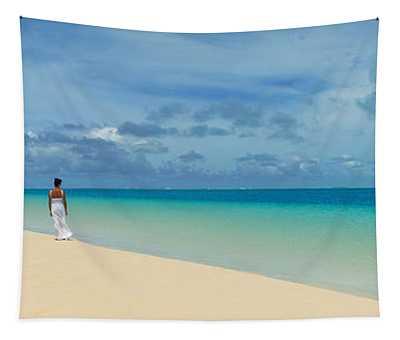Woman In Distance On Sandbar, Aitutaki Tapestry