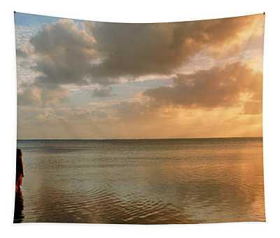 Woman Standing On Sandbar Looking Tapestry