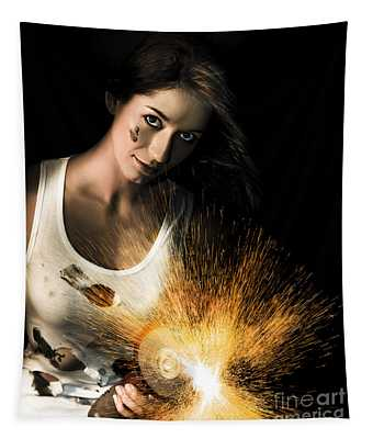 Woman With Angle Grinder Spraying Sparks Tapestry