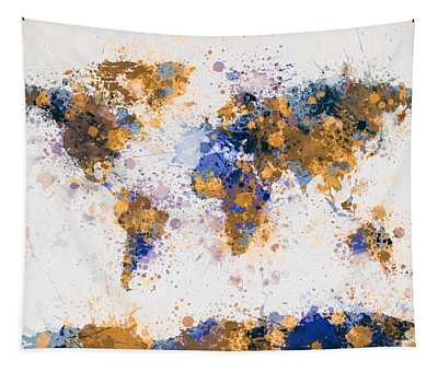 World Map Paint Splashes Tapestry