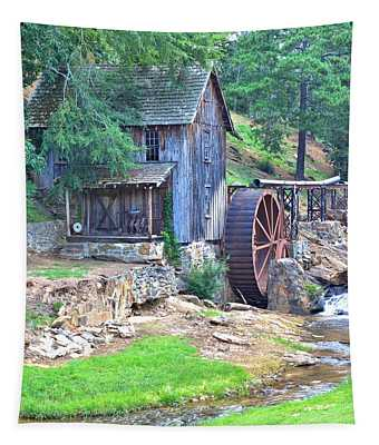 Sixes Mill On Dukes Creek - Square Tapestry