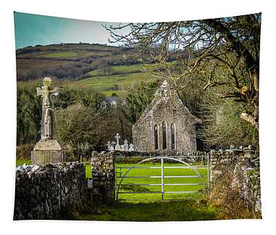 12th Century Cross And Church In Ireland Tapestry