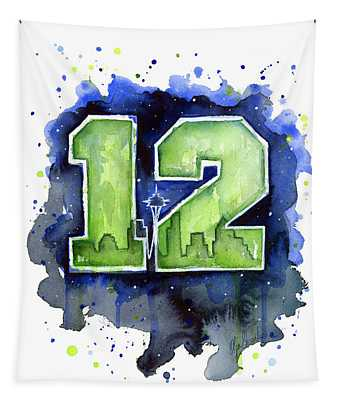 12th Man Seahawks Art Seattle Go Hawks Tapestry
