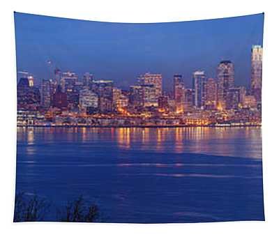 12th Man Seattle Skyline Reflection Tapestry