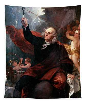 1750s Benjamin Franklin Touching Key Tapestry