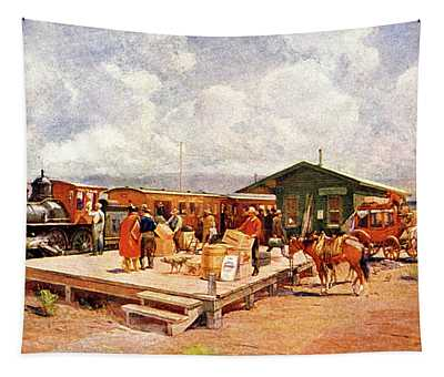 1870s Early Railroad Commerce Travel Tapestry