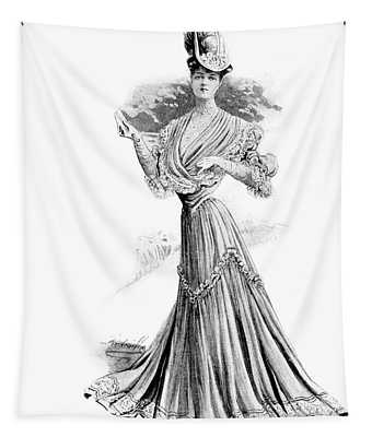 1890s 1900s Womens Fashion Wasp Waist Tapestry