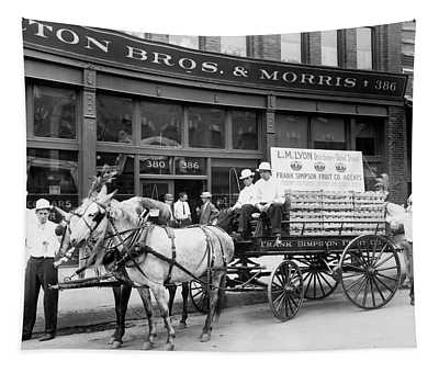1890s Mule Drawn Fruit Delivery Wagon Tapestry