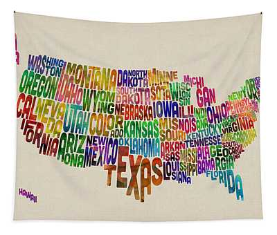 United States Typography Text Map Tapestry by Michael Tompsett