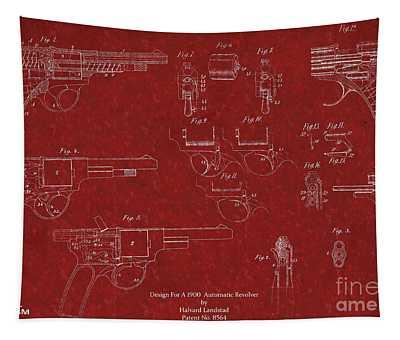 1900 Landstad Automatic Revolver Patent Tapestry