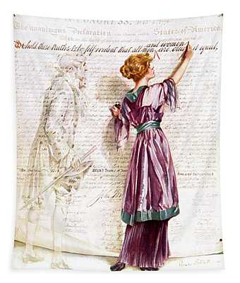 1900s 1915 Woman Suffragette Writing Tapestry