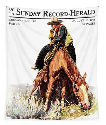1900s Sunday Magazine Cover Lone Cowboy Tapestry