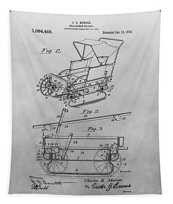 1914 Go Cart Patent Drawing Tapestry