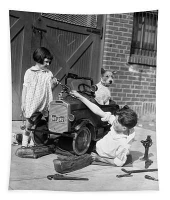 1920s 1930s Two Children Boy Girl Tapestry