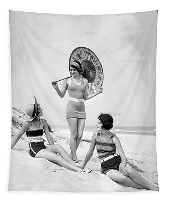 1920s Three Smiling Women In Swimsuits Tapestry