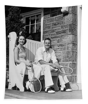 1930s Man And Woman Sitting On Porch Tapestry