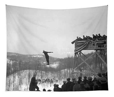 1930s Man Ski Jumping In Mid Air Crowd Tapestry