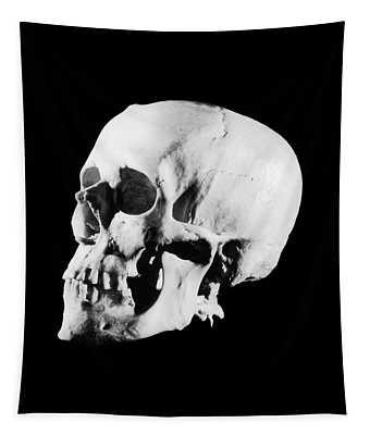 1930s Profile Of Human Skull White Bone Tapestry