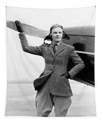 1930s Woman Aviator Pilot Standing Next Tapestry