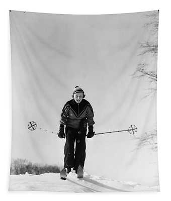 1930s Woman Holding Ski Poles Skiing Tapestry