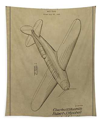 1934 Mail Plane Patent Tapestry